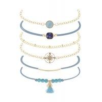 B788 - Blue beaded tassel bracelets