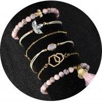 B790 - Pink pattern beaded tassel bracelet