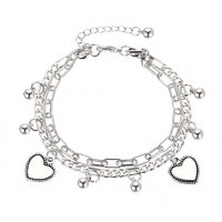 B806 - Retro double love heart bracelet