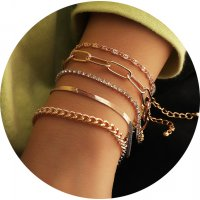 B813 - Simple Thick Chain 5 Set Bracelet