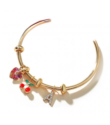B820 - Cherry Heart Letter Adjustable Opening Bead Round Bracelet