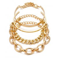 B824 - Punk Curb Cuban Chain Bracelet Set