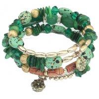 B826 - Bead Resin Stone Crystal Alloy Multi Layer Bracelet