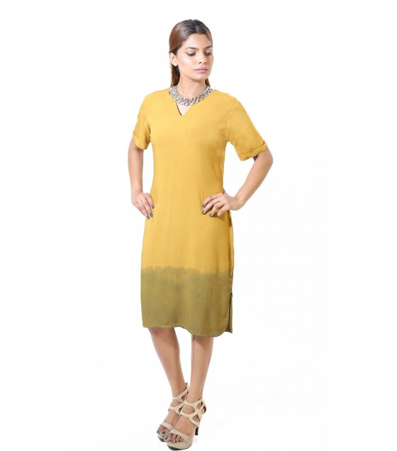 LIL03M - Mustard Dip Dye Midi Dress