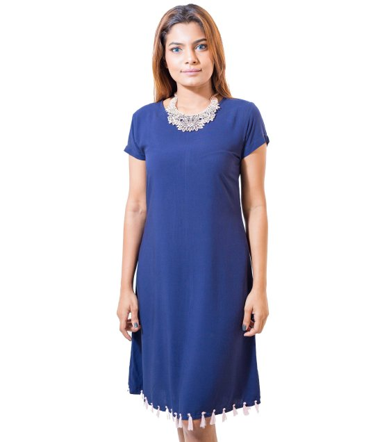 LIL05M - Tasseled Blue Dress