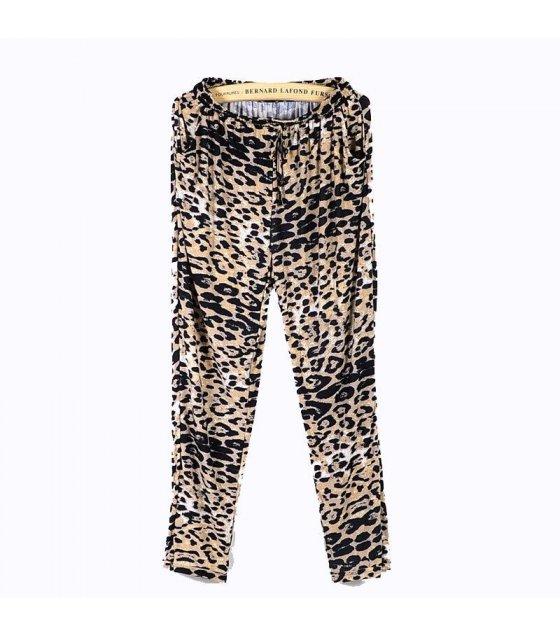 AL011 - Loose metal buckle leopard casual harem pants