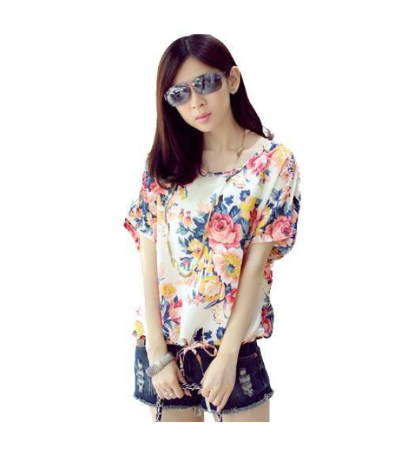 Test001 - White Floral Chiffon Top