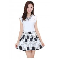 C008L - Black & White Check Dress