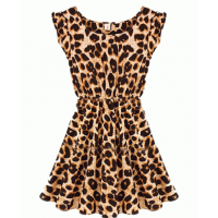 C018 - Leopard halter dress Cotton skirt