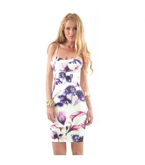 C026L - Elegant White Floral Polyester Dress