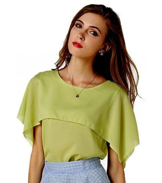 C042M - Loose shawl flouncing sleeveless chiffon shirt