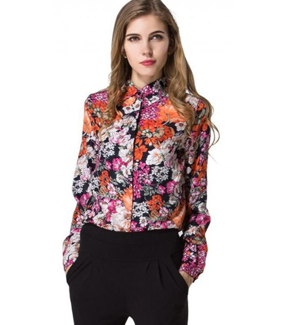 C064L - Floral long-sleeved chiffon shirt