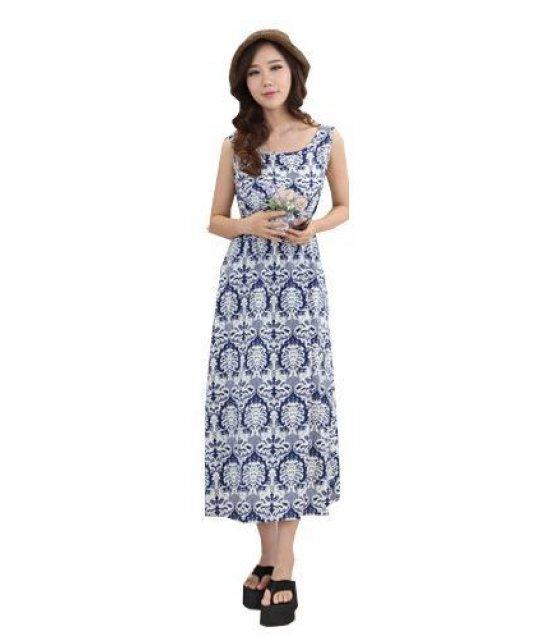 C097 - sleeveless silk floral cotton dress bohemian dress