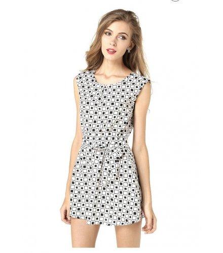 C105- Summer Black And White Square Dress