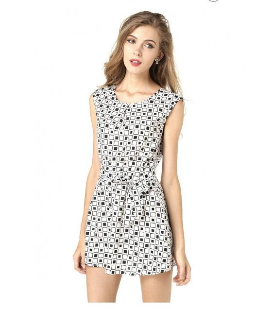 C105- Summer Black and White Square Dress