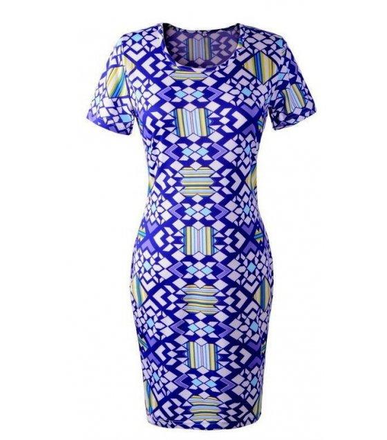 C172 - Geometric pattern dress pencil skirt dress