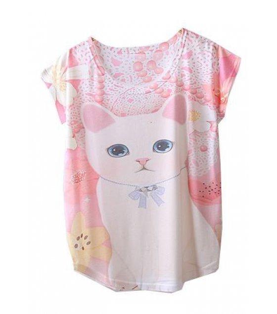 C184 - Cat Design  Loose shortT-shirt