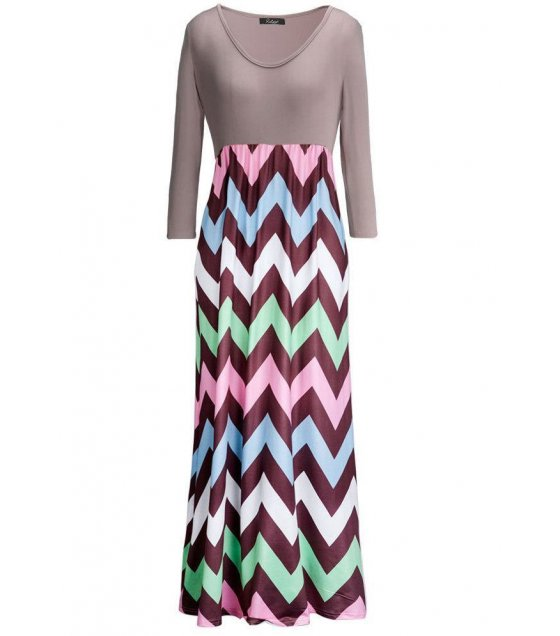 C212L - Europe round neck long sleeved striped dress