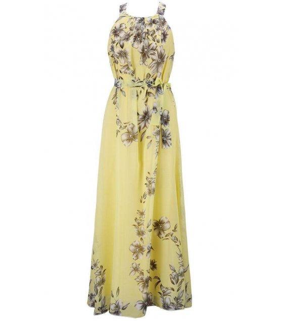 C214M - Round sleeveless chiffon bohemian beach dress