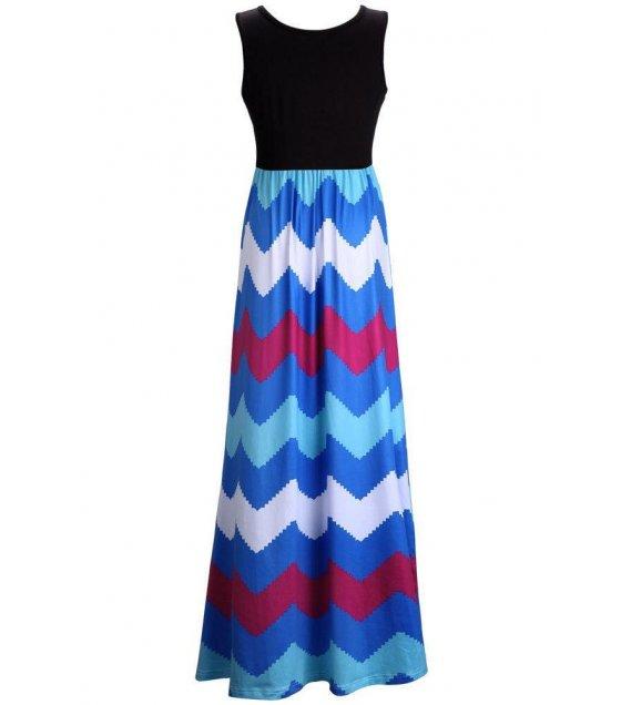 C215L - Bohemian colored stripes wave length skirt