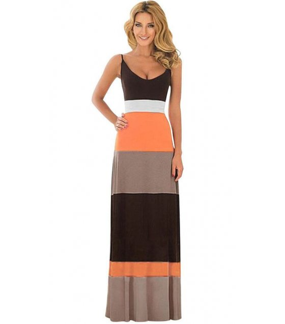 C216M - Single strap  color stripes Dress