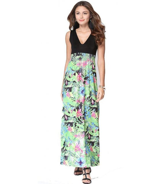 C223 - Printed Green Floral Loose Dress