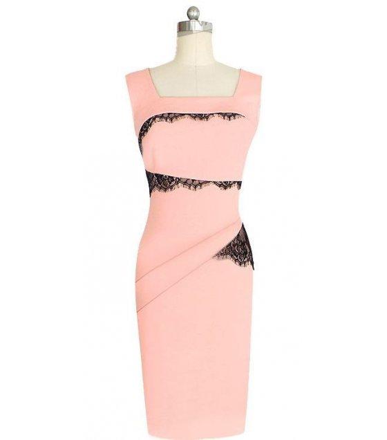 C225L -  Slim lace applique pencil skirt
