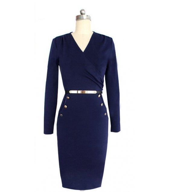C227L - Long sleeved Trendy Formal Dress
