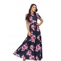 C256 - Long Navy Floral Print Dress