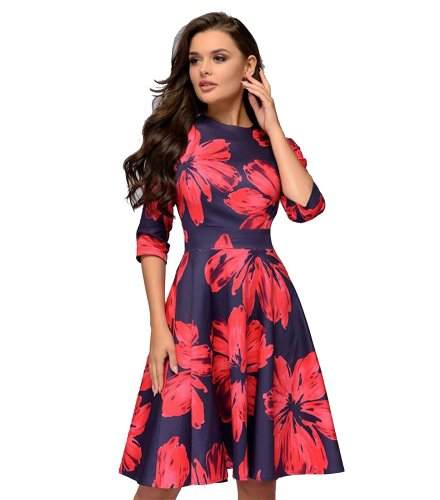 C262 - Retro banquet round neck print Dress