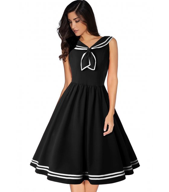 C265 - Retro  Sailor Collar Dress