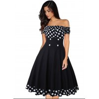 C267 - Polka Dot Printed Off The Shoulder Cocktail Party Dress