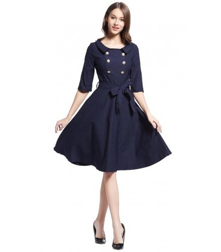 C269 - British collar sleeve stretch dress