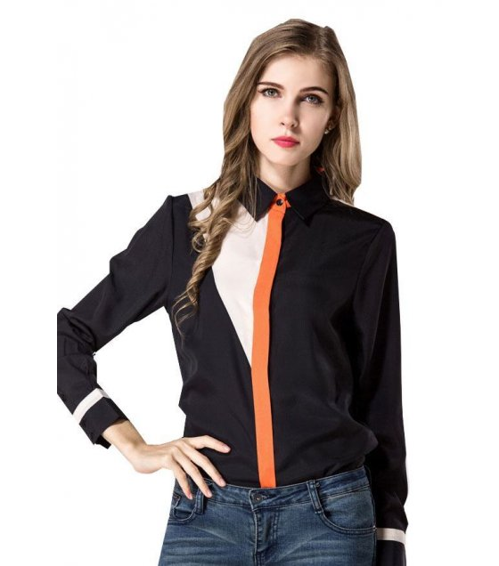 C107XL - Mix color long-sleeved chiffon blouse