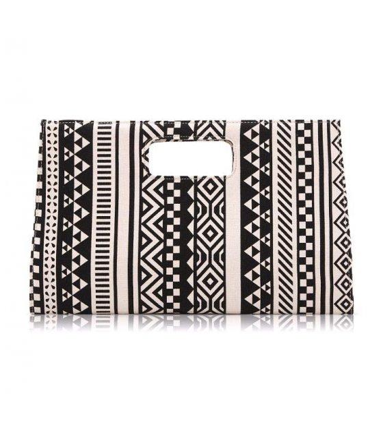 CL082 - white geometric patterns clutch
