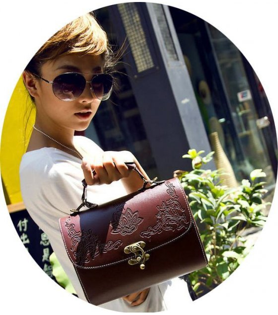 CL162 - Carved Brown Clutch