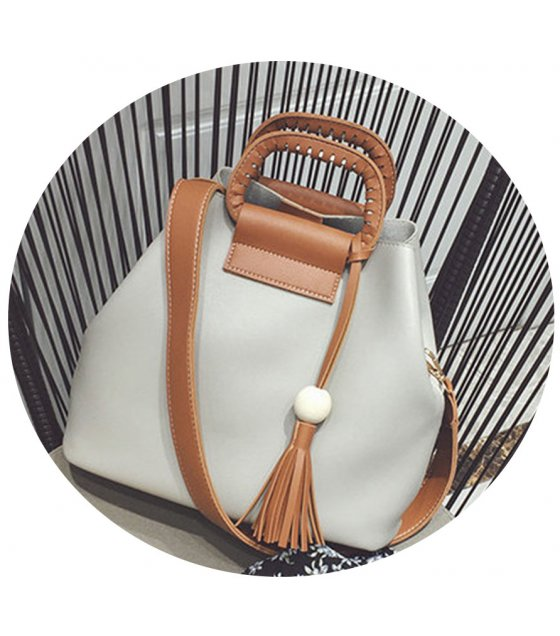 CL330 - Retro casual wooden beads fringed bag
