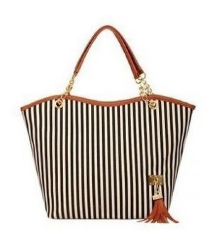 CL444 - Strip tassel casual canvas stripe handbag