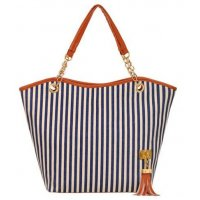 CL503 - Strip tassel casual canvas stripe handbag