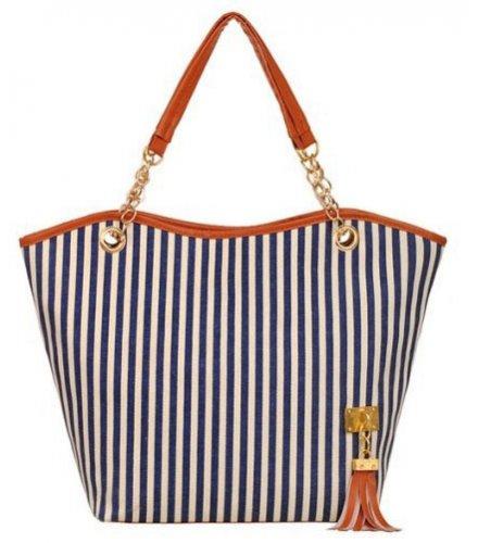 CL503 - Strip tassel casual canvas stripe handbag