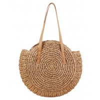 CL569 - Round woven shoulder straw bag
