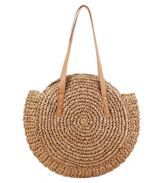CL569 - Round woven shoulder straw bag