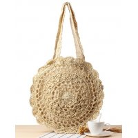 CL574 - Simple Hollow Round Shoulder Straw Bag