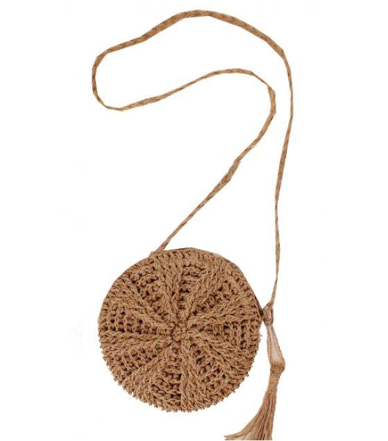 CL584 - Simple round tassel Beach Bag