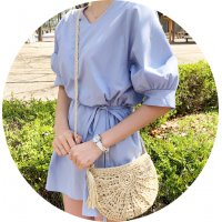 CL619 - Rope tassel straw woven bag