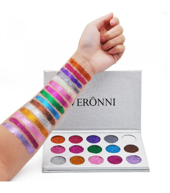 MA408 - VERONNI Brand 15 Colors Glitter Eye Shadow Palette