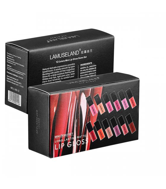 MA498 - Lamuseland 12Colors/Set Travel Kit Long-Lasting Lipstick Matte