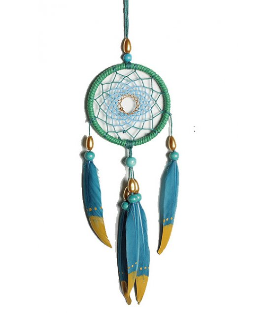 DC021 - Original handmade small blue dream catcher DIY