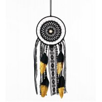 DC034  - Black dream catcher feather pendant
