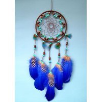 DC075 - Indian Peacock Feather Dreamcatcher